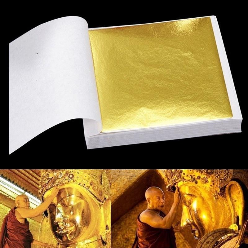 Carrywon Home Set of Gold Foil 100pcs/set 24k Leaf Sheets Art Crafts Design Gilding Framing Scrap Decorative Wall Film