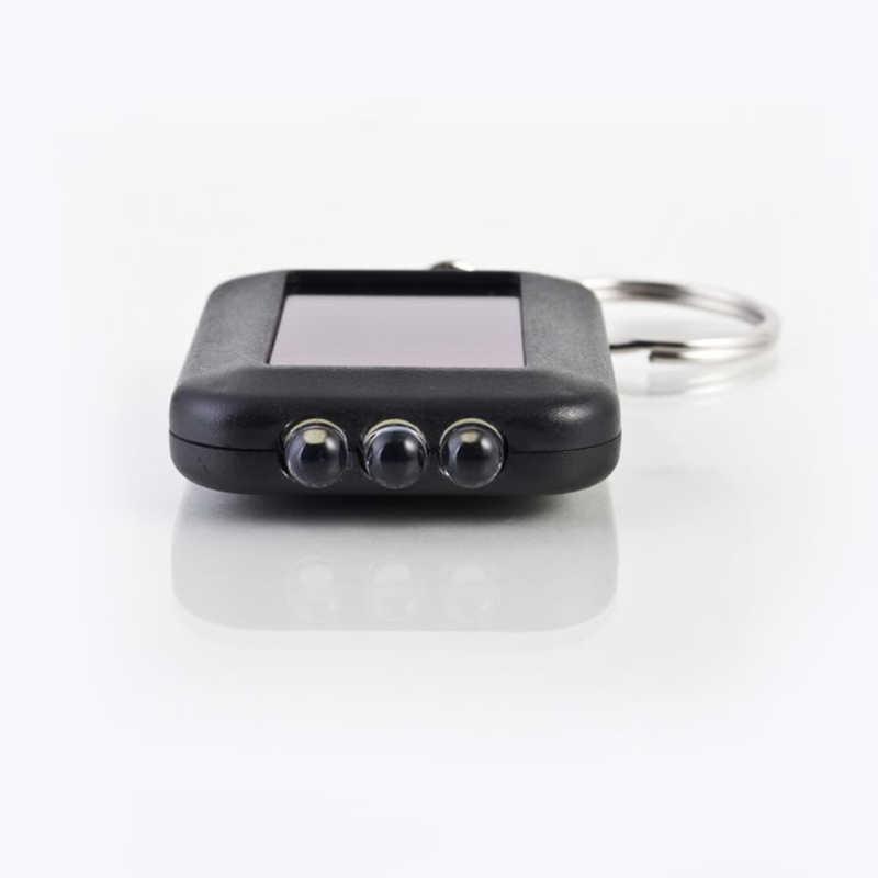 Mini Portable Solar Power 3 LED Light Keychain Keyring Torch Flashlight Outdoor Emergency Light Tools Black Small flashlight