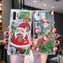 Christmas gift Liquid Quicksand Santa Case for Samsung Note8 9 10 10Pro Cover for S7 7ed S8 s8p s9 S9p S10 S10Lite Cases Coque(China)