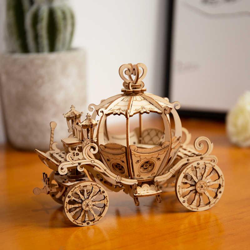Robotime nova chegada diy 3d caixa de gramofone, carrinho de abóbora madeira puzzle jogo montagem popular brinquedo presente para crianças adulto tg408