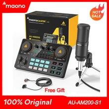 Maono Caster Am200-s1 Volle Mitarbeiter Mikrofon Mischer Soundkarte Audio Podmaster Mit Codener Mic & Kopfhörer Für PC Telefon YouTube