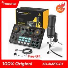 Maono – mélangeur de Microphone à roulettes, personnel complet, carte son, Podmaster, Audio, avec codeur, micro et écouteurs, pour PC, téléphone, YouTube
