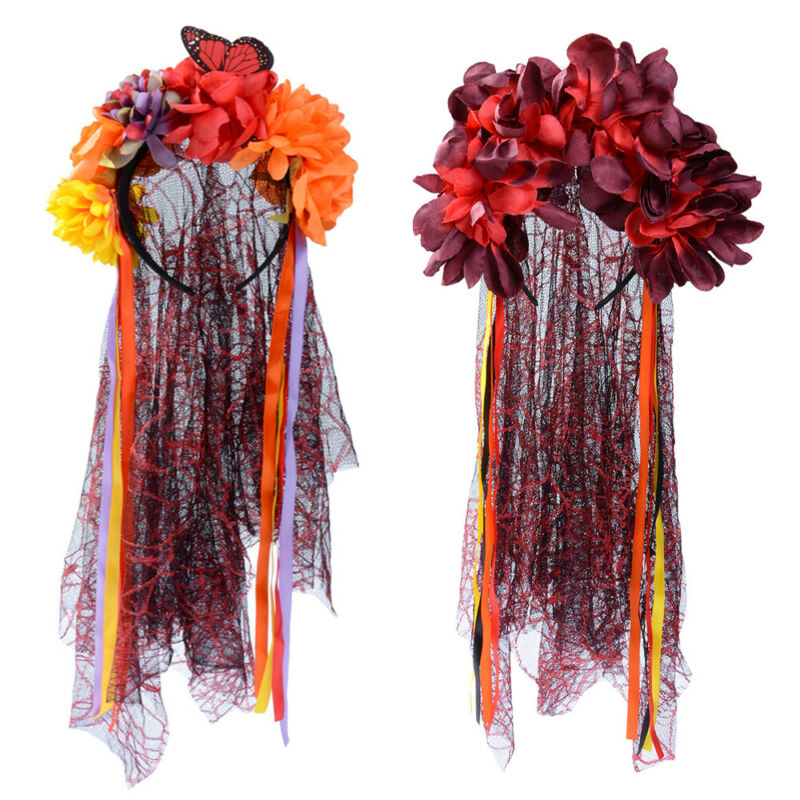 Adult Halloween Zombie Bride Black Veil With Flowers Fancy Dress Accessory