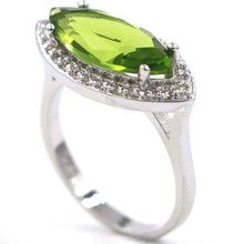 20x12mm Charming Green Peridot CZ SheCrown Womans Gift Silver Ring