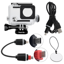 Diving Rechargeable Waterproof shell Motorcycle Charging Waterproof cover + USB Cable for Gopro Hero 4/3 + 3 Camera Accessories недорого