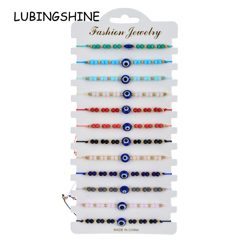 Women Men 12pcs/Sets Blue Turkish Evil Eye Charms Bracelets Crystal Bead Adjustable Rope Chain Yoga Wristband Child Girl Jewelry
