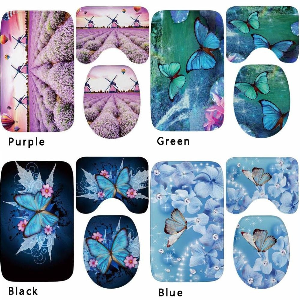 4 Colors Butterfly Pattern Bath Mat Contour and Toilet Cover Mat 3 Piece Bathroom Rug Set Butterfly Pattern Mat Set Absorb Water|Rug| |  - title=