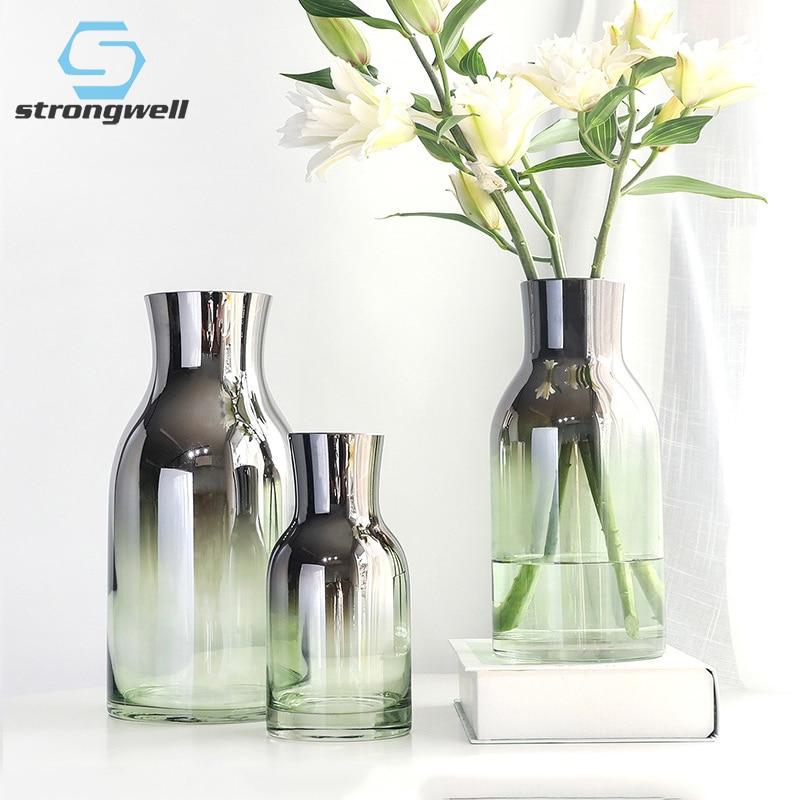 11.8US $ 35% OFF Modern Glass Vase Crafts Terrarium Glass Containers Tabletop Flower Vase Home Deskt...