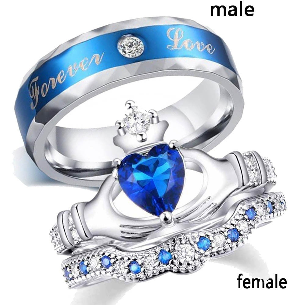 Luxury Charm <font><b>Couple</b></font> <font><b>Ring</b></font> Stainless Steel Blue Men's <font><b>Ring</b></font> Blue Zircon Women's <font><b>Ring</b></font> <font><b>Sets</b></font> Valentine's Day Wedding Bands Jewelry image