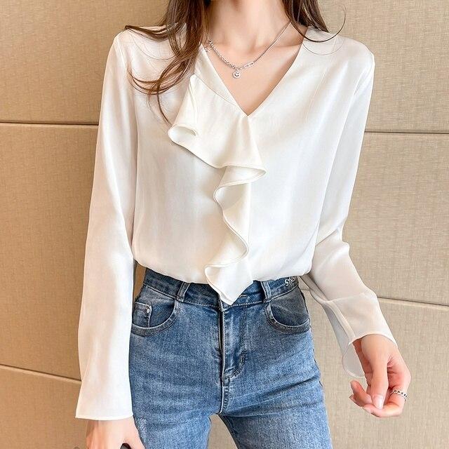 Spring Chiffon Ruffle Blouse Women Fashion V-neck Long Sleeve Top Solid Color Shirts Blouses Blusas 6