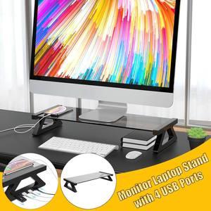 Многофункциональная подставка для монитора компьютера с 4 портами USB из алюминиевого сплава, закаленное стекло, настольный держатель для но...
