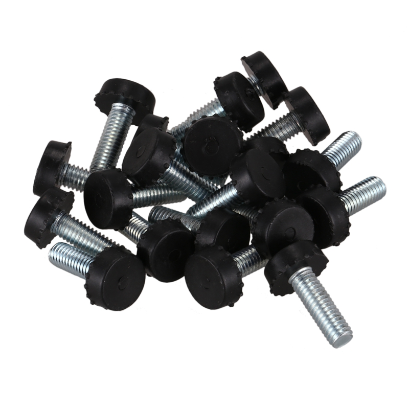 20pcs Screw On Type Furniture Glide Leveling Foot Adjuster 6x15x15mm