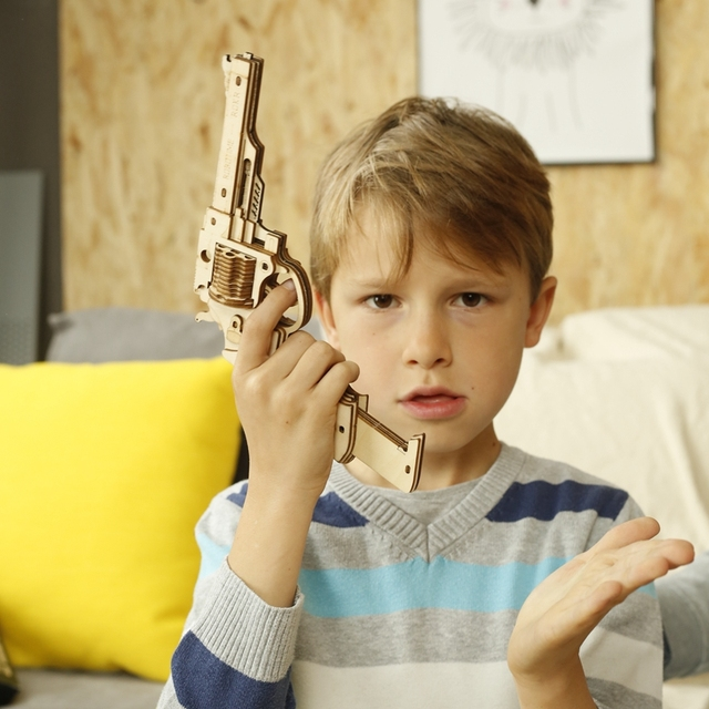 Robotime Gun Building Blocks DIY Revolver,Scatter with Rubber Band Bullet  Wooden Popular Toy Gift for Children Adult 2