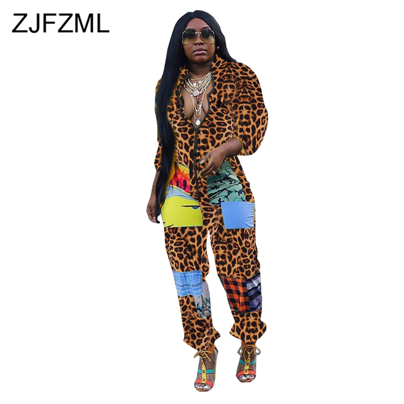 Camouflage Leopard Print Sexy Jumpsuit For Women Stand Collar Long Sleeve Bandage Romper Streetwear Zipper Up Plus Size Bodysuit