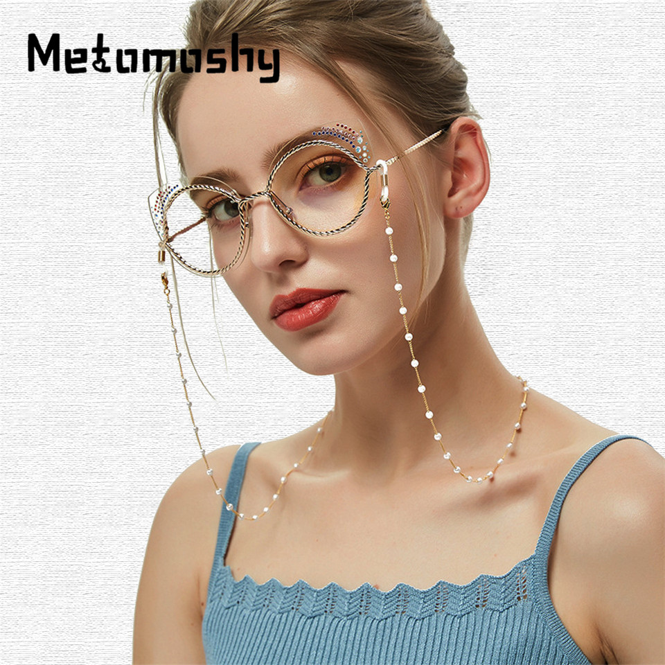 2020 Chic Fashion Reading Glasses Chain For Women Women Metal Sunglasses Casual Pearl Beaded Eyeglass Chain For Glasses Women