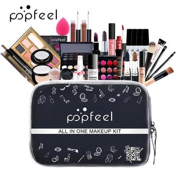 POPFEEL Make up Set cosmetics kit(eyeshadow lipstick,eyebrow,BB cream,face powder,concealer,polish nail) 30 pcs in 1 set