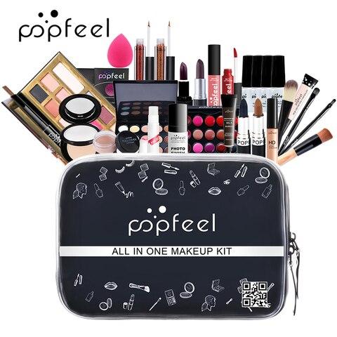 popfeel maquiagem conjunto kit de cosmeticos sombra batom sobrancelha bb creme po de rosto corretivo