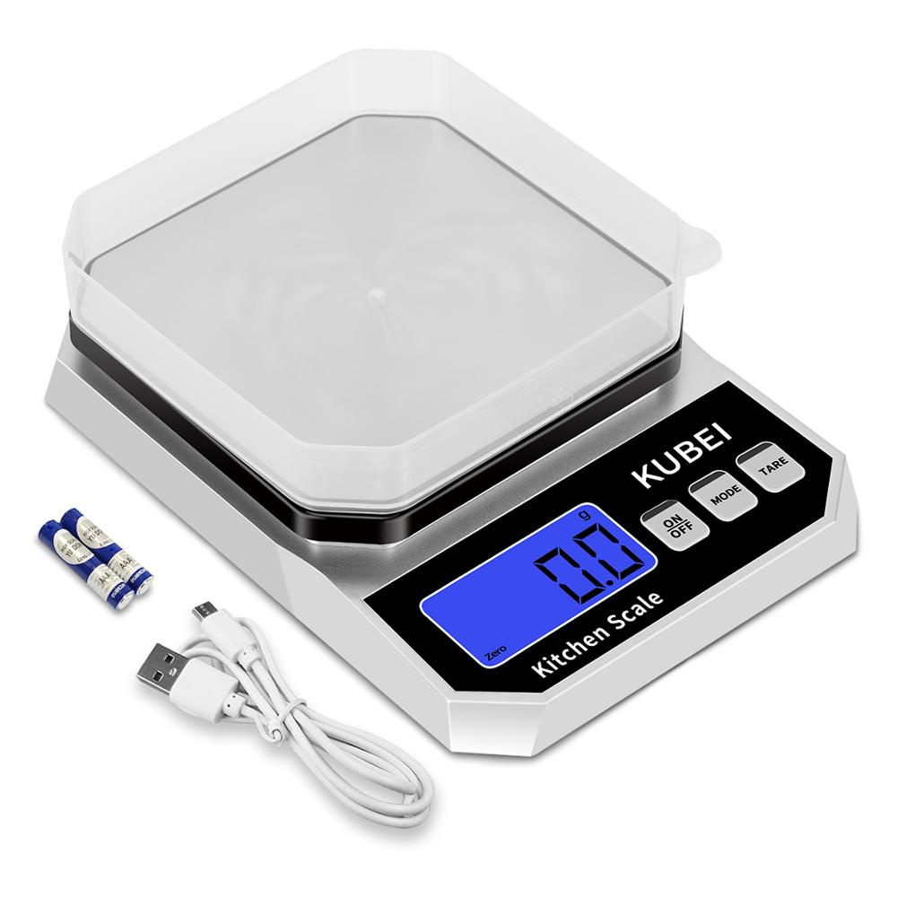 KUBEI 5kgx0.1g 10kg X1g Digital Kitchen Scale Multifunction Stainless Steel Weighing Food Grams Scale For Baking And Cooking