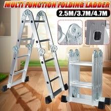 Telescopic Folding Ladder Step-Stand House Aluminium Ladders Telescoping Multi-Purpose Extension Folding Step Ladder 2.5m