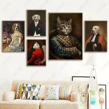 Criativo animal pintura da lona gato e cão na roupa poster papel de parede impressão arte artesanato imagem para casa decoração do quarto