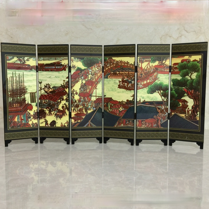 Antique lacquerware small screen decoration ornaments Chinese characteristic wooden crafts lacquerware custom gift gifts abroad