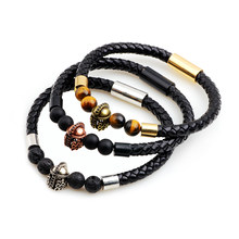 Magent Natural Volcanic Lava Stone Skull Animal Beads Bracelet Hand-Woven PU Leather Bracelets & Bangles Jewelry for Men Women(China)