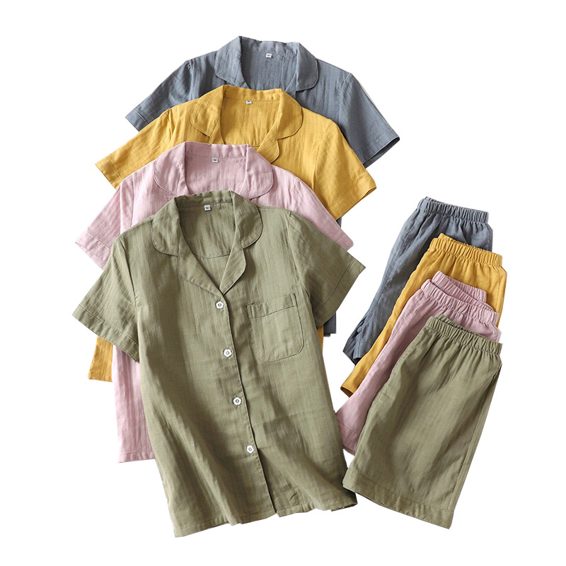 Lovers Solid Color Simple Style Pajamas Set Comfort Gauze Cotton Men And Women Sleepwear Short Sleeve+Pants Summer Thin HomewarPajama Sets   -