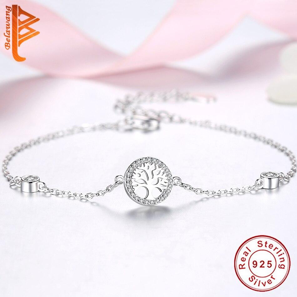 BELAWANG Wholesale Hot Sale 100% 925 Sterling Silver Tree of Life Bracelet Women Adjustable Link Chain Bracelet Silver Jewelry