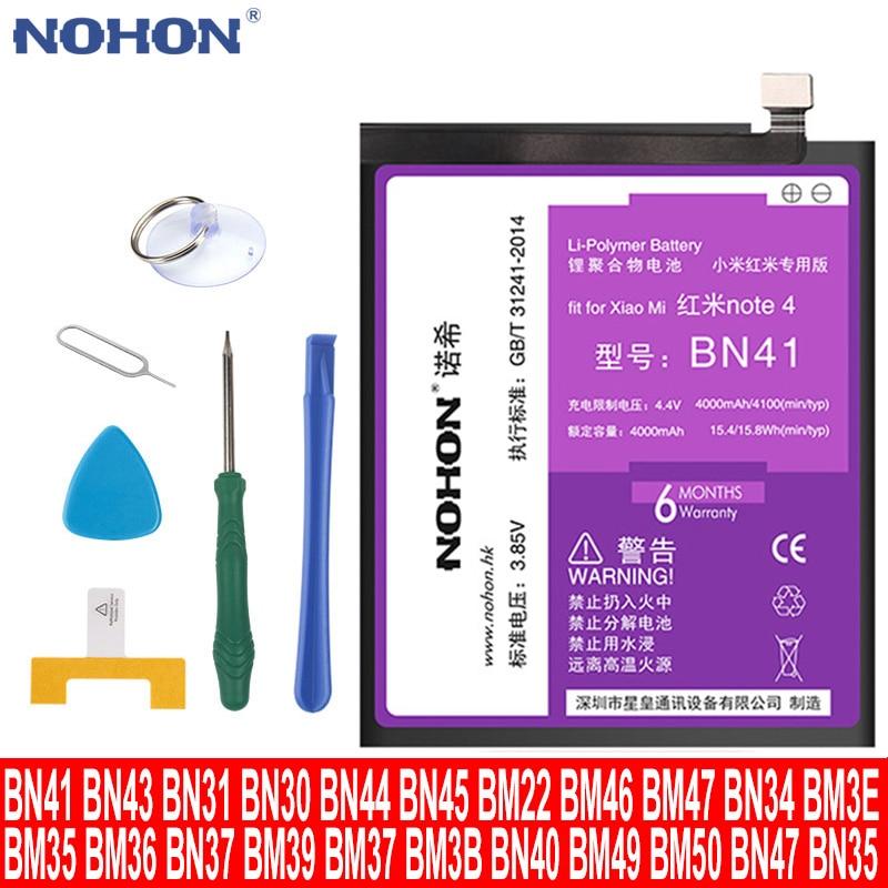 Оригинальный NOHON Сменный аккумулятор для Xiaomi Mi Redmi Note Mix 2 3 3S 3X 4 X 4X 4A 4C 5 5A 5S 5X M5 6 6A 7 8 Pro Plus BM45 BM46 BM47 BM48 BN41 BN43 BN42 BM31 BM32 BM3A