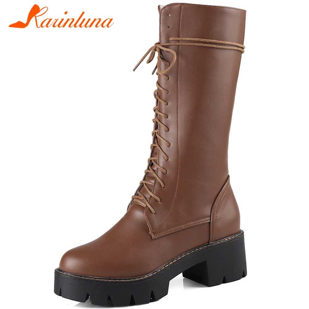 KARINLUNA New Ladies Solid High Chunky Heel Boots Comfort mid-calf Platform Boots Women Fashion Elegant lace-up Shoes Woman