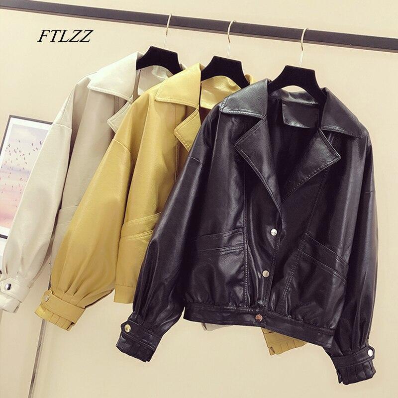 FTLZZ Spring Women White Black Yellow Turndown Collar Single Breasted Biker Jacket Faux Leather Vintage Short Motor Jackets