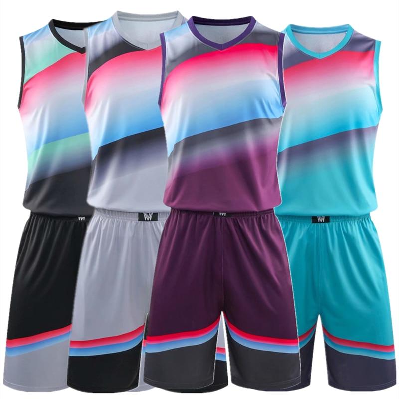 Conjunto de Jérsei de Basquete Uniformes de Basquete Terno de Treinamento em Branco Masculino Arco-íris Roupas Esportivas Throwback Jerseys Shorts Kit Personalizado