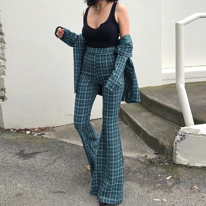 Women Fashion Flare   Pants   Wide Leg   Pants   High Wasit Retro Plaid Pattern Bell-Bottom Long Trousers Casual Skinny   Pants