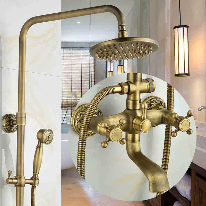 Bathroom Wall-mounted Shower Mixer Tap Set With Bidet Antique Carved Solid Brass Rainfall Shower Set Shower Head Set