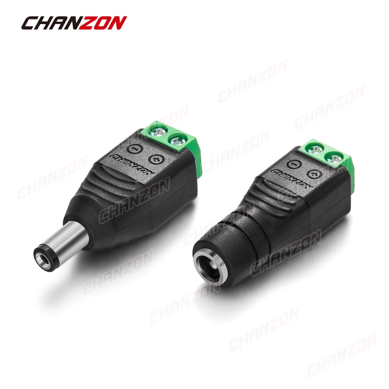 10 pièces 12V connecteur d'alimentation cc Jack 2.1mm x 5.5mm femelle mâle prise prise adaptateur vis pour bande de LED CCTV caméra lumière connexion