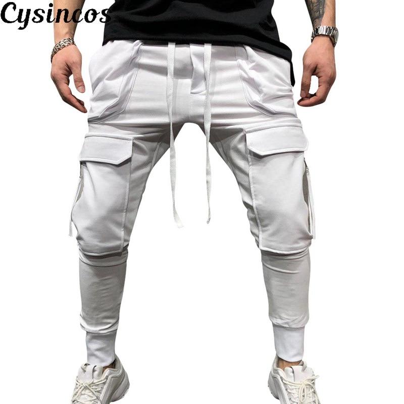 CYSINCOS New Men Pants Hip Hop Harem Joggers Pants 2019 Male Trousers Mens Joggers Solid Multi-pocket Pants Sweatpants M-3XL