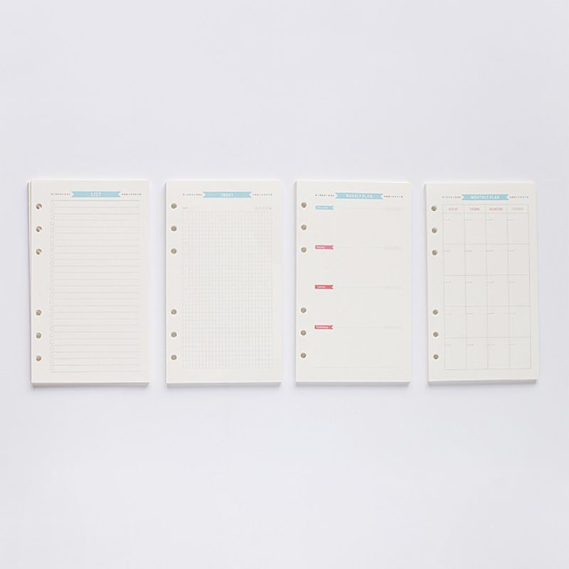 6 Holes Refill Inner Paper Diary Week Month Planner For A5 Loose Leaf Notebook