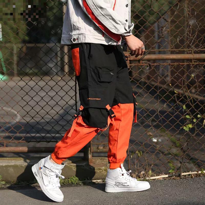 Patchwork Casual Cargo Pants Sweatpants Trousers Men Work Long Sweat Male Loose Pockets Pants Fashion Hip Hop Parkour
