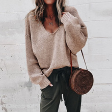 Women Long Sleeve Sweater Casual V Neck Loose Pullovers Female Autumn Winter Knitted Korean Streetwear