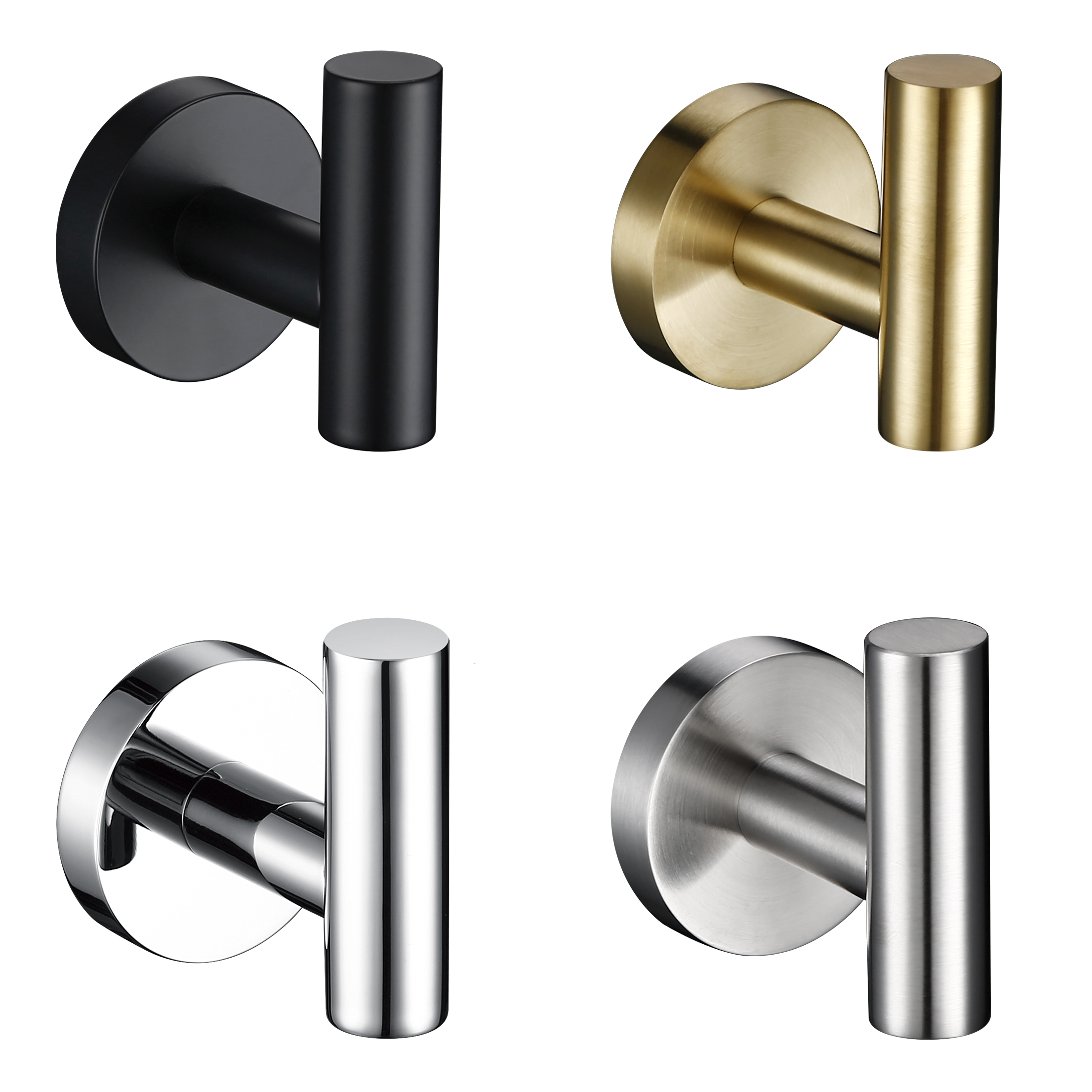 Circle Stainless Steel Black Chrome Brushed Gold Nickel Bathroom Kitchen Bedroom Hardware Pendant Clothes Wall Hook