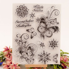New Merry Christmas Butterfly Snowflake Clear Silicone Stamp Seal DIY Scrapbooking Album Decorative Clear Stamp Sheets