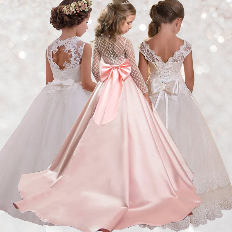 Trailing Lace Kids Girl Party Dress Costume Ball Gown Prom For Children Ankle-Length Lady Elegant Wedding Host Baby Dress LP-204
