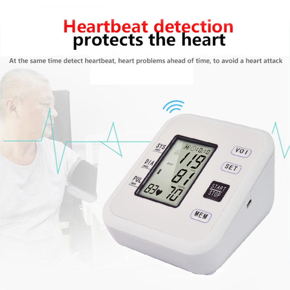 Digital LCD Blood Pressure Monitor Tonometer Medical Equipment Apparatus for Measuring Pressure Home Heart Beat Meter Machine in Blood Pressure from Beauty Health