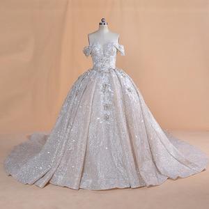 Image 1 - Luksusowy dubaj arabski off shoulder aplikacje koronkowa suknia ślubna 2020 prawdziwe zdjęcia suknia ślubna Vestido de noiva suknia ślubna