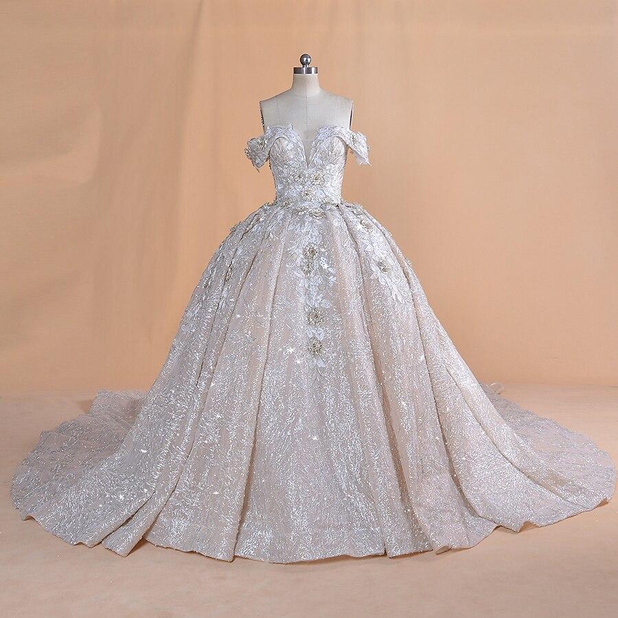 Luxurious Dubai Arabic  off shoulder appliques lace wedding dress 2020 real photos bridal gown Vestido de noiva bridal dressWedding Dresses   -