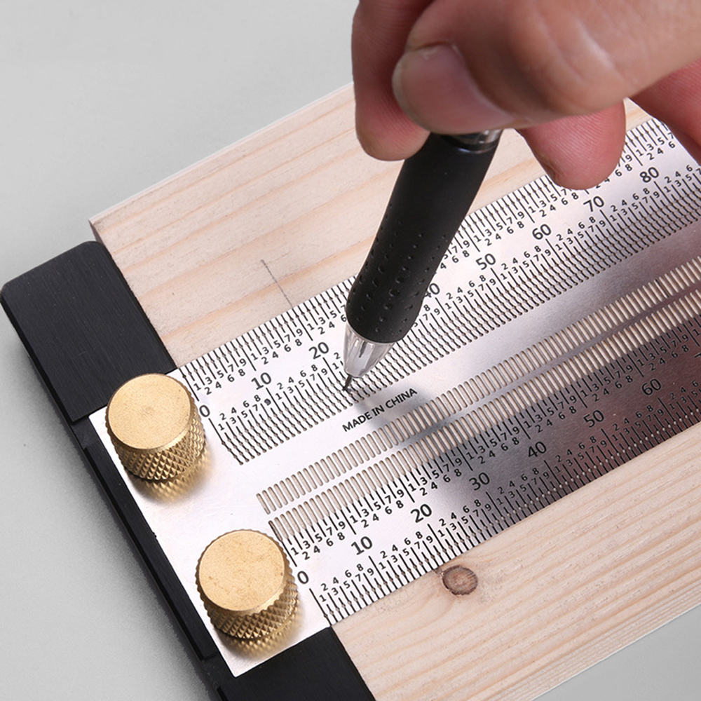 Carpentry Ruler Positioning Hole Gauge Scale Marking Measurement Woodworking Measuring Tool Accessories