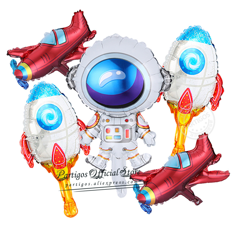5Pcs/Set Minisize Outer Space Theme Astronaut Rocket foil balloons 10Inch Star Globos Kids Toy Boys Birthday Party decorations