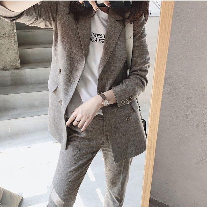 FMFSSOM Women Suit 2 Piece Sets Casual Blazer High Waist Pant Office Lady Notched Jacket Pant Suits Femme Set