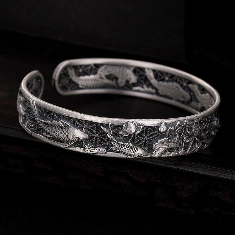 Véritable pur 100% S999 en argent Sterling bracelets sculptés poisson et Lotus creux conception manchette bracelets pour femme bijoux de luxe cadeau