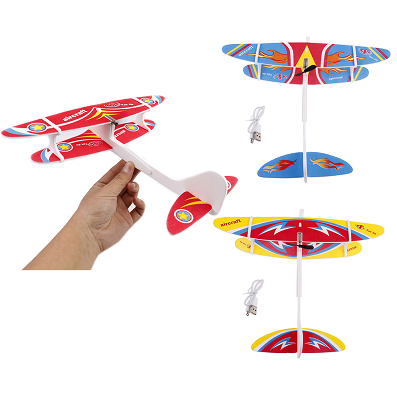 Electric Plane LED EPP Foam Airplane Hand Launch Throwing Glider Aircraft Model Outdoor Kids Educational Toy Children Adult Gift image